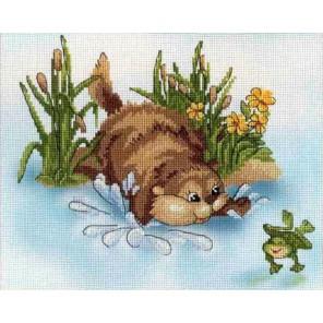 Бобер и лягушка диз.канва+мулине Набор для вышивания МП Студия
