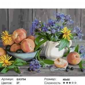 Количество цветов и сложность Васильки и персики Раскраска картина по номерам на холсте