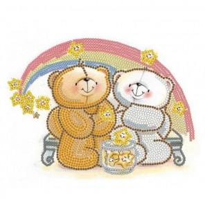 Пример оформления в рамке Радужная любовь Канва с рисунком для вышивки бисером Конек 8109