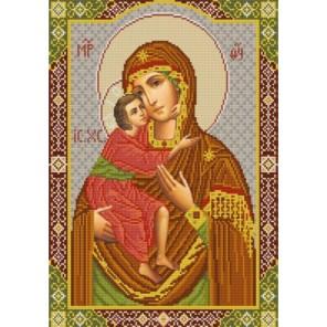 Пример оформления в рамке Богородица Феодоровская Канва с рисунком для вышивки бисером Конек 9248