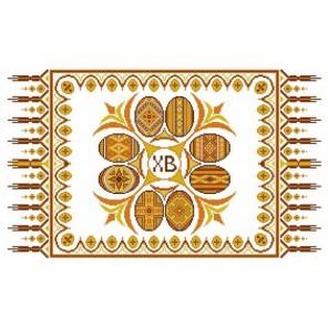 Пример оформления в рамке Рушник пасхальный 4 Канва с рисунком для вышивки бисером Конек 9408