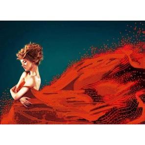 Пример оформления в рамке Леди в красном Канва с рисунком для вышивки бисером Конек 9462