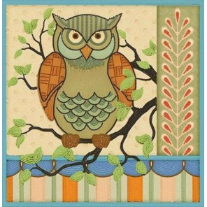 Пример оформления в рамке Сова Канва с рисунком для вышивки бисером Конек 9464
