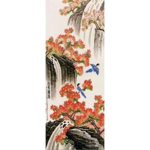 Пример оформления в рамке Водопад Канва с рисунком для вышивки бисером Конек 9613
