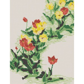 Пример оформления в рамке Тюльпаны Канва с рисунком для вышивки бисером Конек 9637