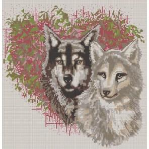 Пример оформления в рамке Волки Канва с рисунком для вышивки бисером Конек 9656