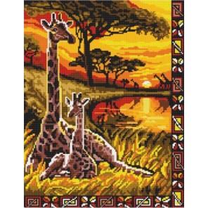 Пример оформления в рамке Жирафы Канва с рисунком для вышивки бисером Конек 9704