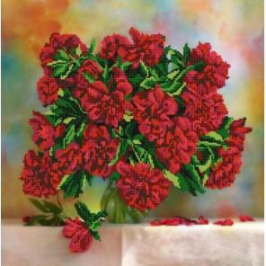 Красные пионы Канва с рисунком для вышивки бисером Конек