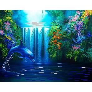 Дельфин Канва с рисунком для вышивки бисером Конек