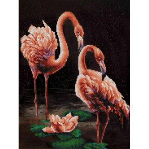 Пример оформления в рамке Фламинго Канва с рисунком для вышивки бисером Конек 9835