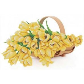 Пример оформления в рамке Жёлтые тюльпаны Канва с рисунком для вышивки бисером Конек 9858