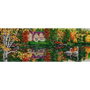 Пример оформления в рамке На пруду Канва с рисунком для вышивки бисером Конек 9900