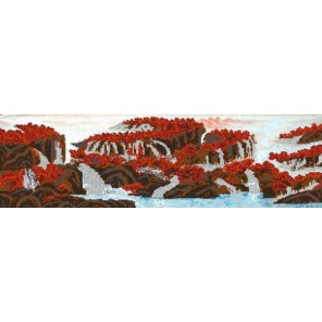 Пример оформления в рамке Горный водопад Канва с рисунком для вышивки бисером Конек 9930