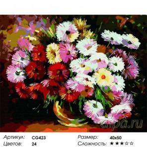 Астры Раскраска по номерам акриловыми красками на холсте Color Kit