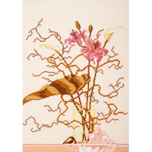 Розовые лилии Набор для вышивания Овен