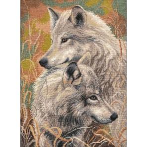 Пример оформления в рамке Волчья верность Набор для вышивания Овен 711