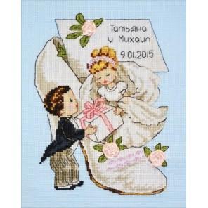 Пример оформления в рамке Свадебная метрика-4 Набор для вышивания Овен 728