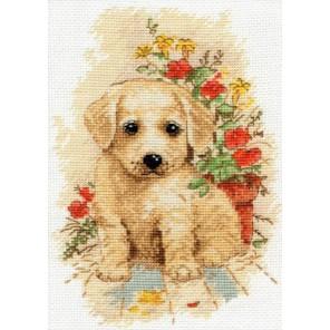 Пример оформления в рамке Мой щенок Набор для вышивания Овен 998