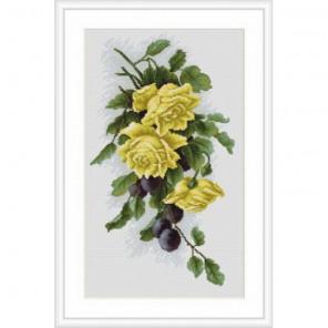 Жёлтые розы со сливами Набор для вышивания Luca-S