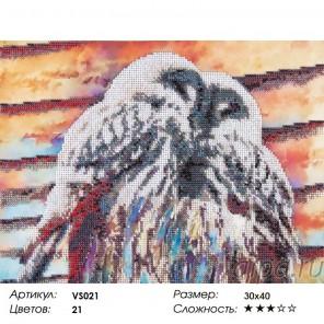 Сложность и количество цветов Совы Набор для вышивания бисером на подрамнике VS021