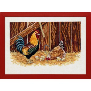 Петух, курица и цыплята Набор для вышивания Eva Rosenstand 12-996