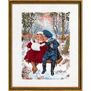 Дети на качелях зимой Набор для вышивания Eva Rosenstand 12-837