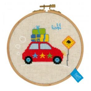 с пяльцами Каникулы на автомашине II Набор для вышивания Vervaco PN-0150916