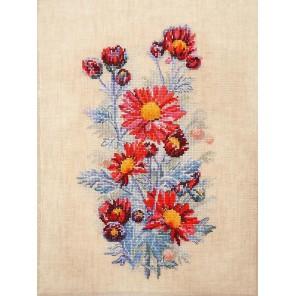 Красные хризантемы Набор для вышивания Марья Искусница 04.004.05