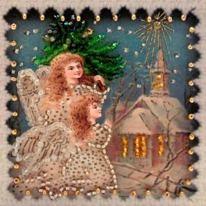 Рождество-2 Набор для вышивания хрустальными бусинами, магнит СТУДИЯ ВЫШИВКИ