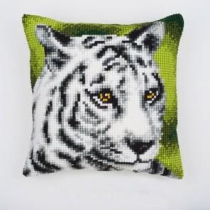 Белый тигр Набор для вышивания подушки VERVACO