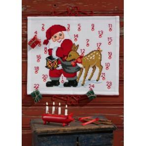 Санта Клаус с оленем Набор для вышивания календаря PERMIN