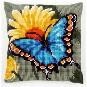 Бабочка и желтый цветок Набор для вышивания подушки VERVACO