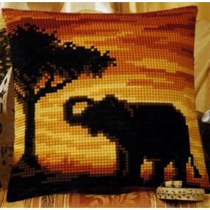 Слон на закате Набор для вышивания подушки VERVACO