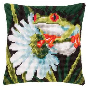 Древесная лягушка с цветком Набор для вышивания подушки VERVACO
