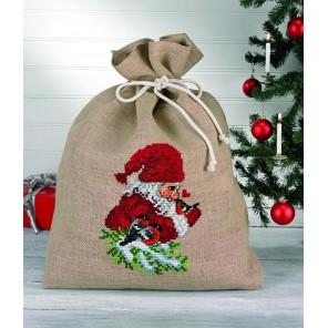 Гном и снегирь Набор для вышивания мешочка для подарков PERMIN