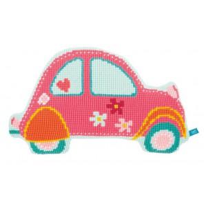 Розовый автомобиль Набор для вышивания подушки VERVACO