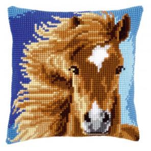 Коричневая лошадь Набор для вышивания подушки VERVACO