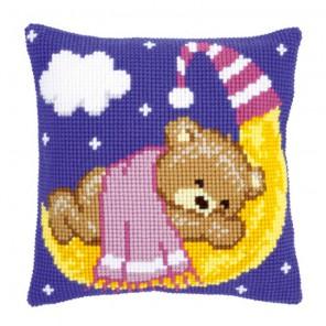 Розовый Тедди на Луне Набор для вышивания подушки VERVACO