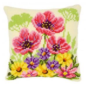 Полевые цветы маки Набор для вышивания подушки VERVACO