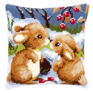Кролики на снегу Набор для вышивания подушки VERVACO