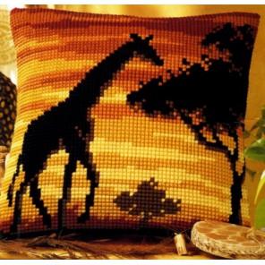 Жираф на закате Набор для вышивания подушки VERVACO