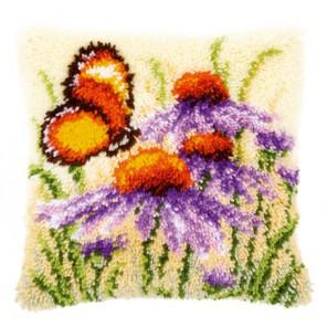 Эхинацея и бабочка Набор для вышивания подушки VERVACO