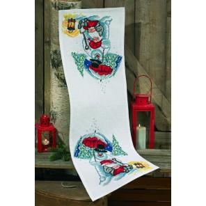 Снеговик с зонтиком Набор для вышивания дорожки PERMIN
