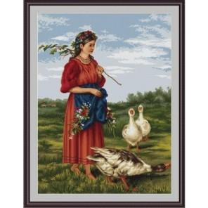 Девочка с гусями Набор для вышивания LUCA-S