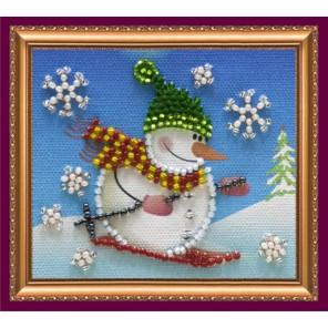 Снеговик 2 Набор для вышивки бисером магнита АБРИС АРТ