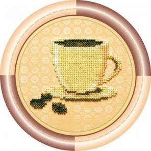 Кофе Набор для вышивки бисером на натуральном художественном холсте АБРИС АРТ