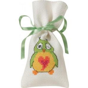 Зелёная сова Набор для вышивания мешочка PERMIN