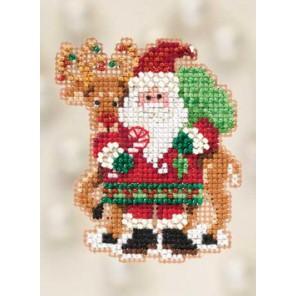 Санта и олень Набор для вышивания бисером MILL HILL