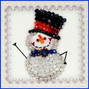 Снеговик-2 Набор для вышивания хрустальными бусинами, магнит СТУДИЯ ВЫШИВКИ