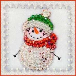 Снеговик-3 Набор для вышивания хрустальными бусинами, магнит СТУДИЯ ВЫШИВКИ
